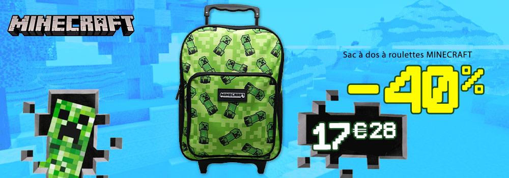 Cartable-à-roulettes-MINECRAFT-Creeper-38cm-double-compartiment-noir