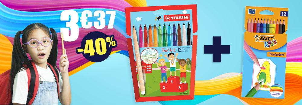 Lot-de-18-feutres-BIC-Kids-pointes-moyennes-12-crayons-de-couleur-BIC-Tropicolor-offert
