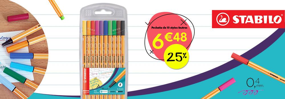 Pochette-de-10-stylos-feutres-ultra-fin-STABILO-point-88