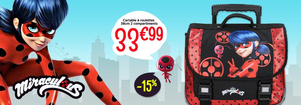 Cartable-à-roulettes-Miraculous-Secret-Identity-38cm-double-compartiment-Rouge