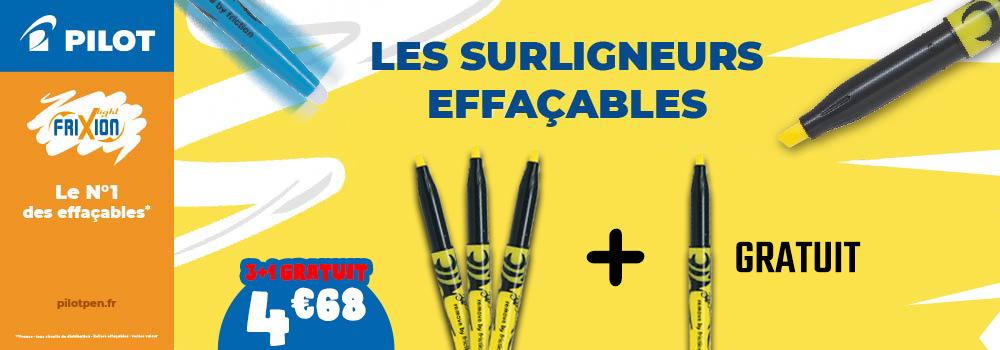 Lot-de-3et1-gratuit-surligneurs-effaçables-PILOT-Frixion-Light-Jaune
